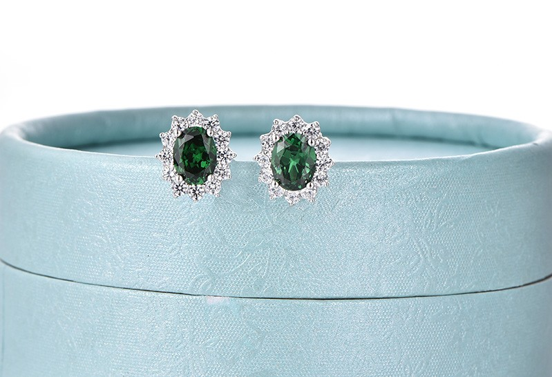 925 sterling silver earrings with stones green NE89300N (10)