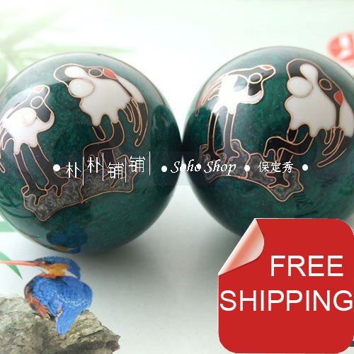 50mm chinese baoding balls w/crane design in multi colors.Chime health balls.Symbol of Longevity.Red paper box.Free shipping..