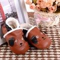 Novo inverno quente botas de Bebê de Couro Genuíno Mocassins Sapatos do cão do estilo do Menino Da Criança Do Bebê Sapatos Sapatos de Bebê Recém-nascido Pré-caminhantes