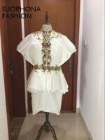 Gerçek resim Custom made Yüksek boyun Aplikler Dantel altın Boncuklu Kısa abiye 2018 Vestidos de festa abiye abiye giyim