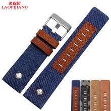Laopijiang reloj Lienzo con ajuste DZ1600 DZ4343 DZ7311 inferior de cuero impermeable de moda 24/26/28mm