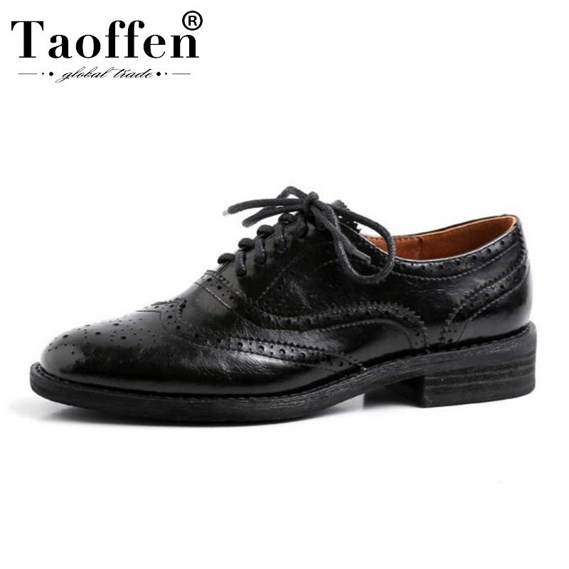 TAOFFEN Real Leather Black Spring Flats Shoes Women Cross Strap Breathable Office Lady Work Dating Flats