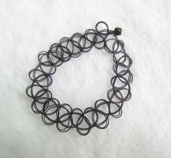 Vintage style black wire braided tattoo bracelet