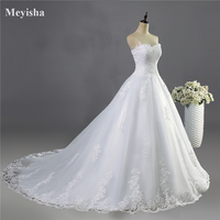 ZJ9059 2017 White Ivory Gown Tulle Sweetheart Wedding Dress Real Photo Court Train For Bride Dresses