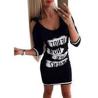 Umeko Letters Mini Dress Casual Black Off Shoulder Plus Size 5XL Three-quarter Sleeve Printed Skinny Dresses Femme Vestidos