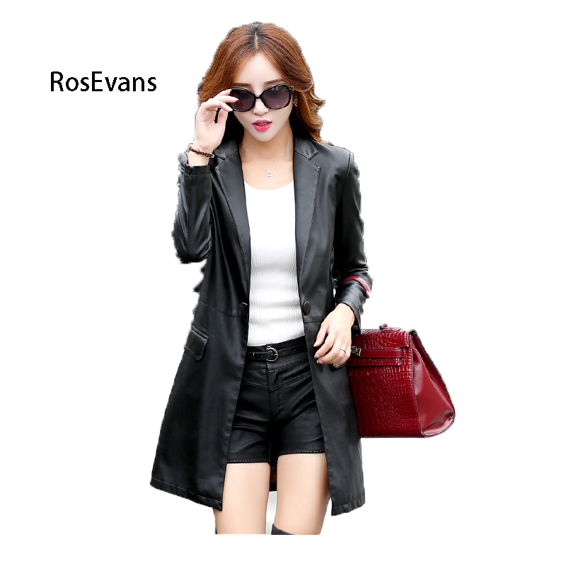 RosEvans 2017 New Fashion Women Locomotive PU Leather Cool Jacket Coat With Turn Down Collar Middle Long Jacket Female B277