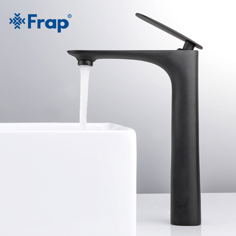 Frap Black Brass Basin Faucet Single Handle Waterfall Basin Mixer Tap Hot & Cold Bathroom Faucets Sink Waterfall Faucet Y10043