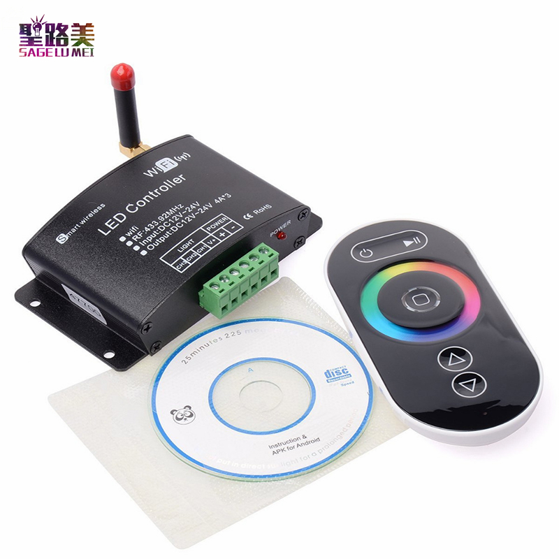 DC12V-24V RGB Wifi LED Controller RF Touch Remote Control Controller By Android/IOS APP For SMD5050 3528 RGB LED Strip Light new dc5v wifi ibox2 mi light wireless controller compatible with ios andriod system wireless app control for cw ww rgb bulb