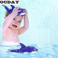 OCDAY Grappige Baby Bad Speelgoed Zwemmen Vis Activated Batterij Aangedreven Robot Vis Blauw Dolfijn Water Float Baden Speelgoed Voor Kinderen