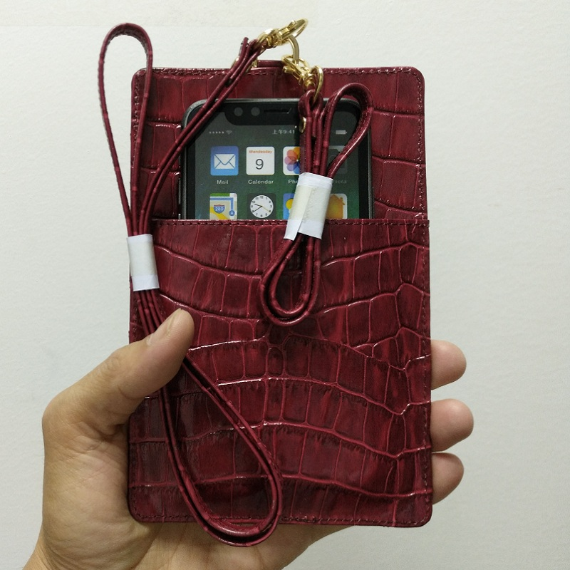 Genuine Leather Card Holder Shoulder Strap Pouch Phone Bag Case For iPhone X XS Max XR 7 8 Plus 6 6S Luxury Crocodile Thin Cover