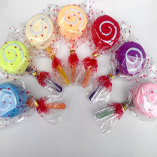 1 piezas Candy Lollipop toalla boda Favor bebé ducha regalo postre de al azar Color 1pc Lolipop toalla(China)