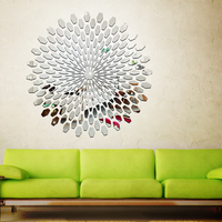 Acrylic Sunflower Round Mural Mirror Effect Wall Sticker Home Decal Silver