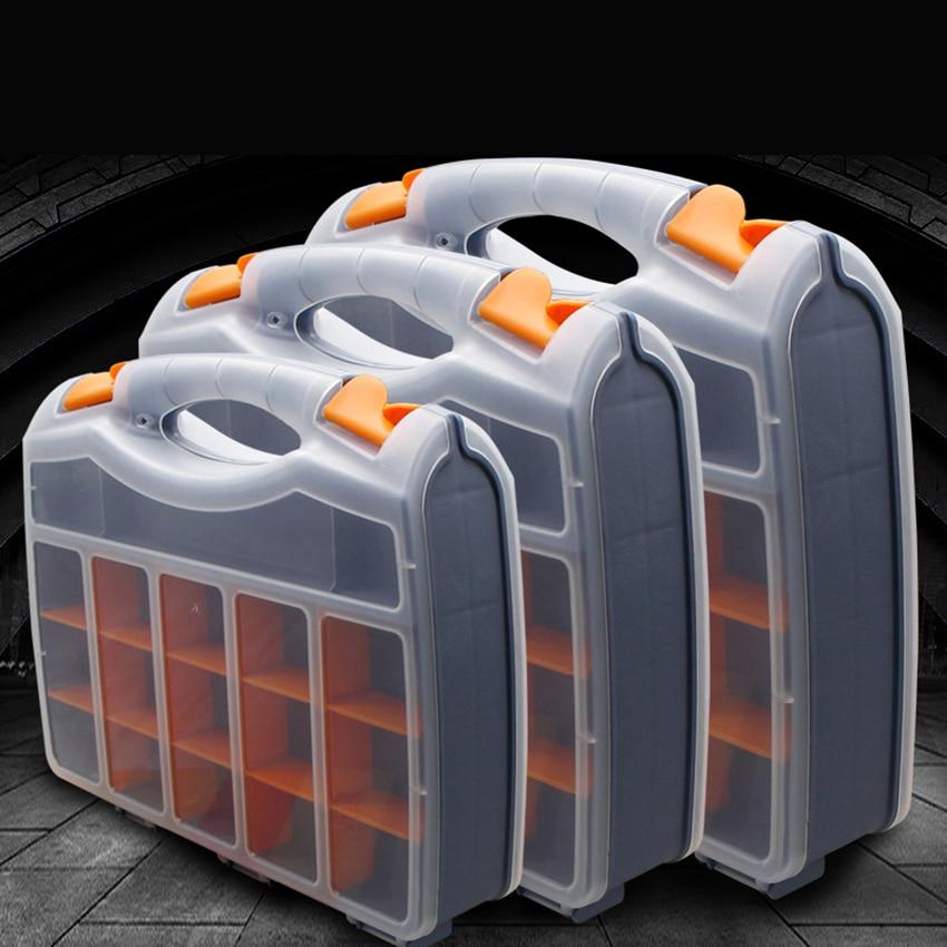 25/30 Grids Portable Parts Box Metal Screw Storage Box Hardware Parts Screwdriver Repair Vehicle Hand Tool