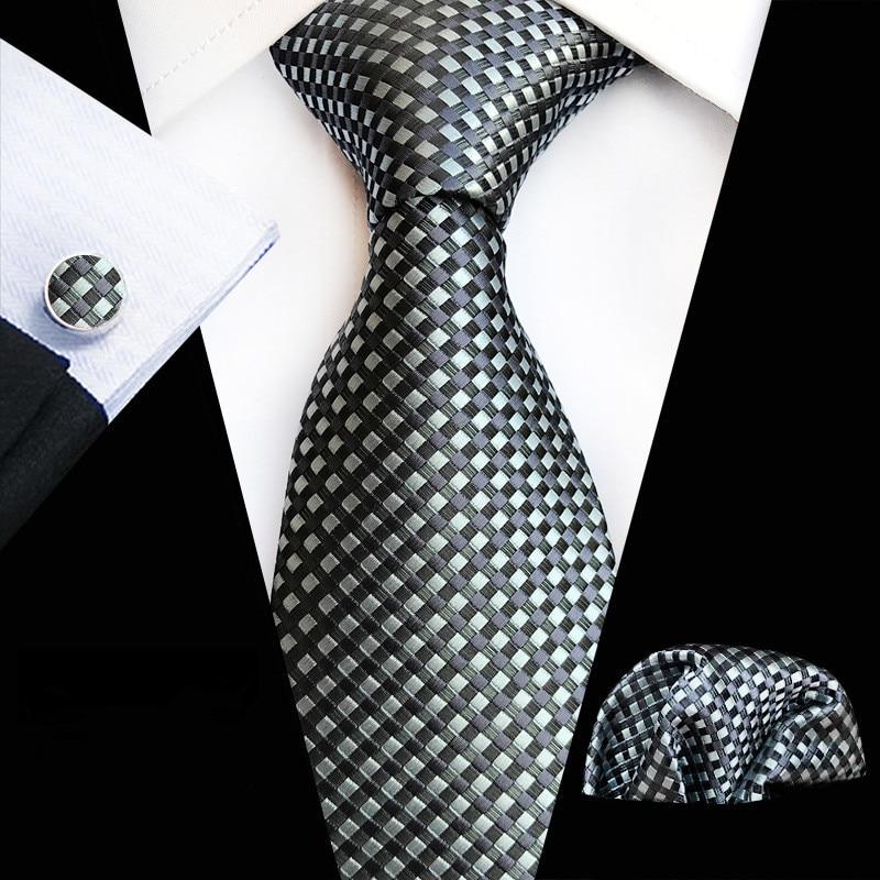 Classic 8cm Width Floral Paisley Ties Cravate Luxury Homme Men's Silk Ties Cufflink Hanky For Men Suit Business Wedding Necktie