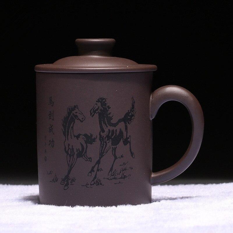 470CC Drinkware Purple Clay Tea Cup Chinese Kung Fu Mark Handmade Zisha Horse Drinkware