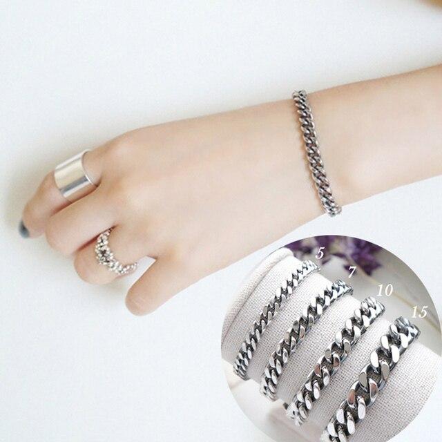 5 7 10mm Width Solid 925 Sterling Silver Chain Bracelet For Women Runway Link