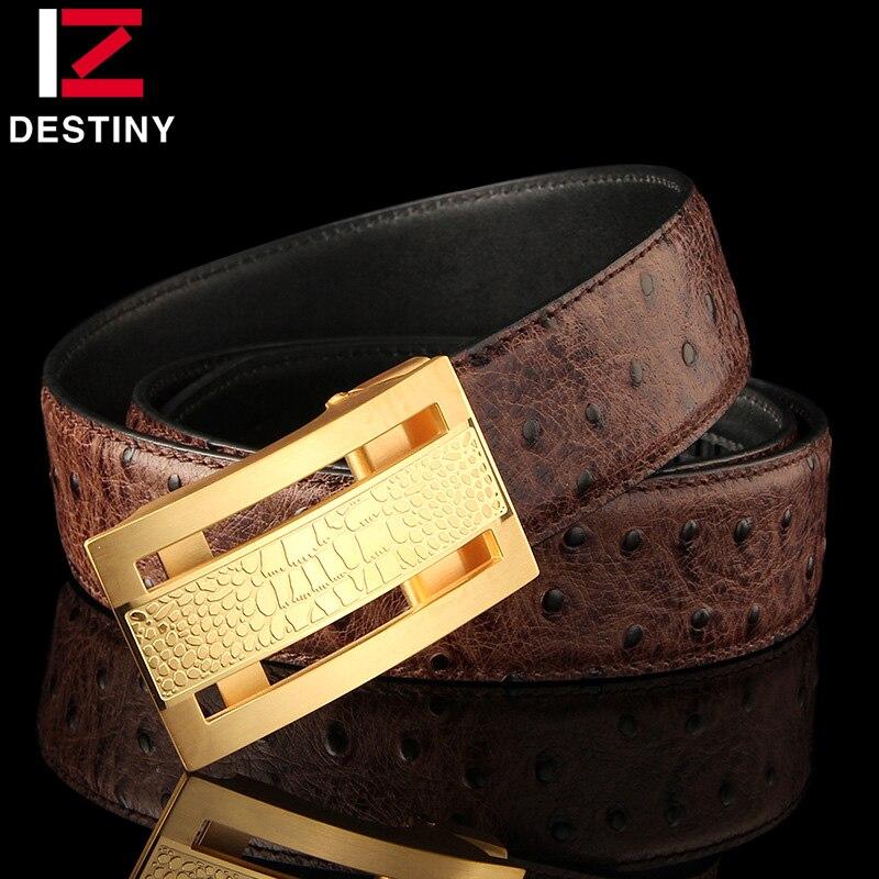 Cinturones de diseñador de destino hombres de alta calidad correa de cuero genuino de lujo famosa marca cinturón boda Acero inoxidable oro plata - 4
