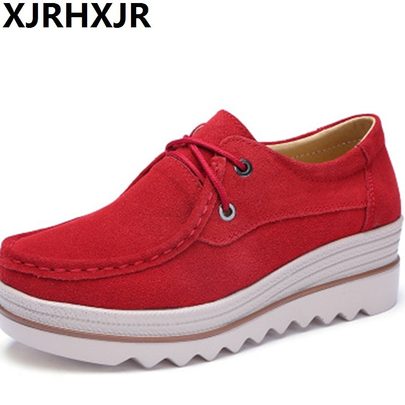 2019 Autumn Women Flats Thick Soled   Leather     Suede   Platform Sneakers Shoes Female Casual Shoes Lace Up Flats Creepers Footwear