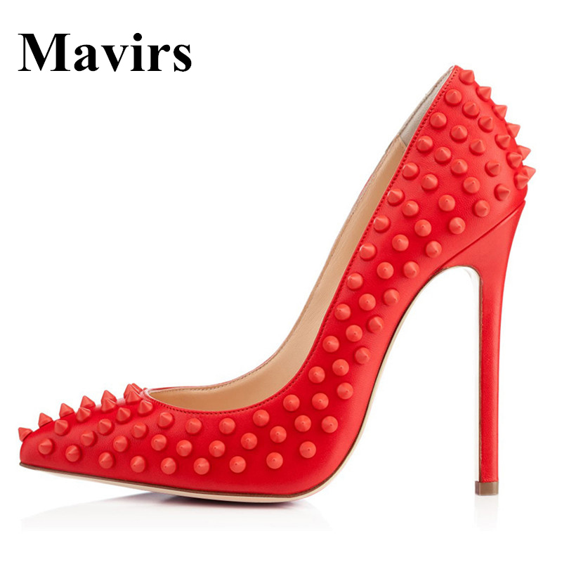 MAVIRS Brand High Heels Women Pumps 2018 Spring Pointed Toe Sexy 12CM Punk Rivets Studs Stiletto Wedding Shoes US Size 5-15 100% copper die casting 15 11mm tower head studs with screw base for punk bags hardware high quality rivets accessories