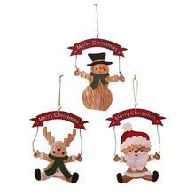 Hot New Wood Merry Christmas Ornaments Wooden Christmas Santa Claus Snowman Tree Hanging Decorations for Home Xmas Party недорого