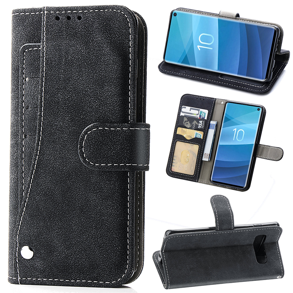 Matte <font><b>Leather</b></font> Rotate Multi-card Slot Wallet <font><b>Flip</b></font> <font><b>Case</b></font> For <font><b>Samsung</b></font> Galaxy S7 Edge S8 <font><b>S9</b></font> Plus S10E S10 Note 8 9 With Photo Frame image