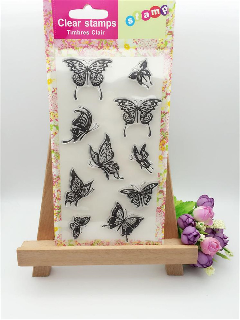 beauty butterfly silicon stamps scrapbooking stamp for kids diy paper card for wedding gift christmas gift LL-129