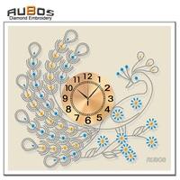 RUBOS Special Shaped Diamond Painting Peacock Clock 5D DIY Diamond Embroidery Patterns Rhinestones 3D AB Mosaic