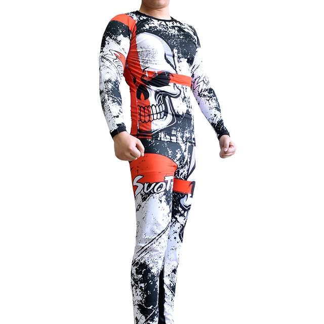 Compression Jersey+Pants Skull Design KickBoxing Tight Long T-Shirts and Trousers