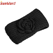 SunWard Good Deal  100% New Brand Knitting Crochet Camellia Flowers Hair Hoop Headband Hairband Black 1pc