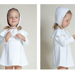 Image 3 - ילדה נסיכת שמלת סוודר חדש 2018 אביב סתיו סרוג חמוד לבן תינוק שמלת ילדים באורך הברך עבור תינוקות ילדה שמלה