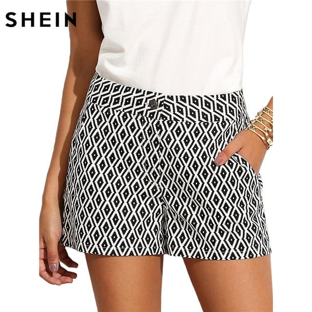 SHEIN Summer Shorts Women New 2017 Women Shorts Summer Ladies Mid Waist Button Fly Black and White Pattern Pocket Shorts