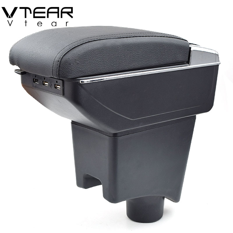Vtear For Dacia sandero armrest box USB Charging heighten Double layer central Store content cup holder