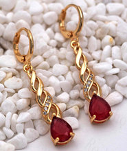 New Bohemian Statement Drop Earrings for Women Red Green Waterdrop Zircon Drop Earring Trendy Jewelry for Party Wedding Gift(China)