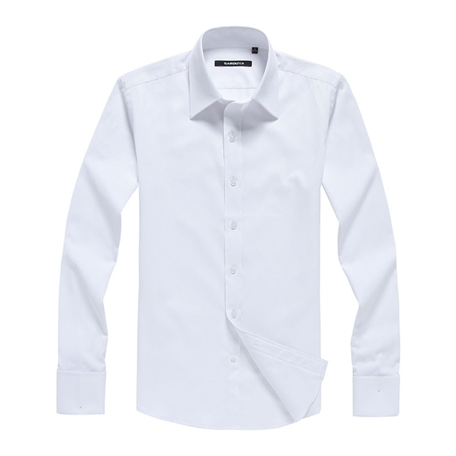 Men's Regular-fit Long Sleeve White Basic Dress Shirt Plus Size 5XL Formal Business Solid Twill Tops Shirts for Work Office Wear 4