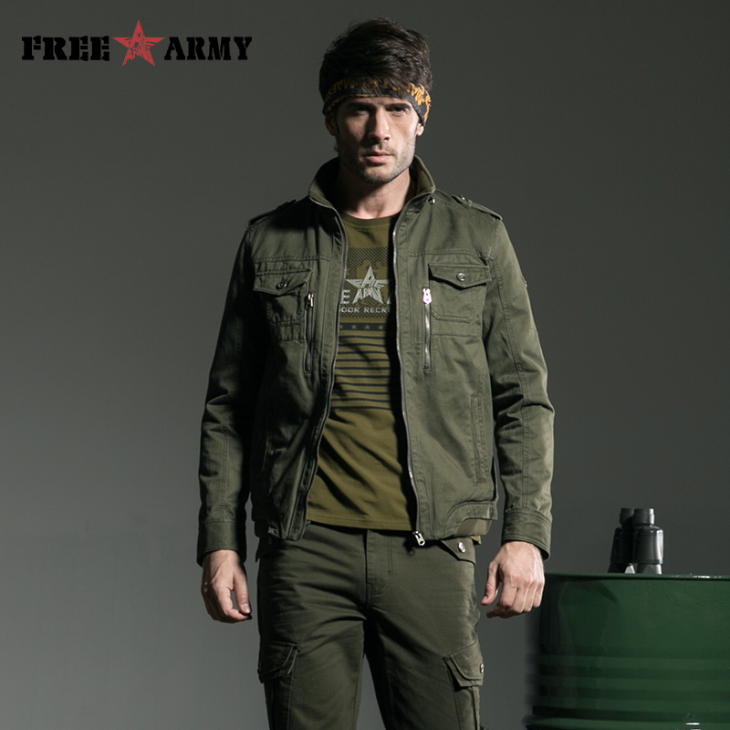 Buy Army Coat Military Jacket Men European Style Metal Zipper Mens Coat