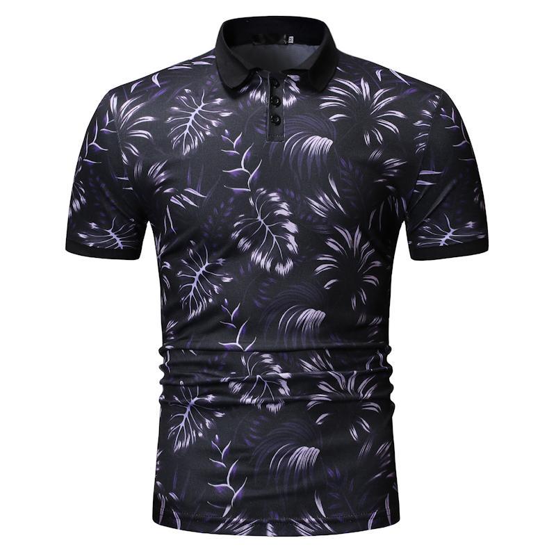 Men Polo Shirt Hawaiian style Men 39 s Clothing Tops Tees Green purple Casual Men clothes 2019 Polo Shirt Men New in Polo from Men 39 s Clothing