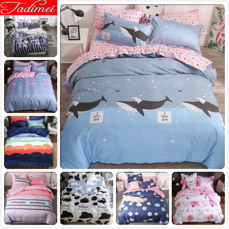 Ocean Blue 3/4 pcs Bedding Set Adult Kids Child Soft Cotton Bed Linen Single Twin Full Super King Size Quilt Duvet Cover 150x200