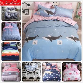 Ocean Blue 3/4 pcs Bedding Set Adult Kids Child Soft Cotton Bed Linen Single Twin Full Super King Size Quilt Duvet Cover 150x200