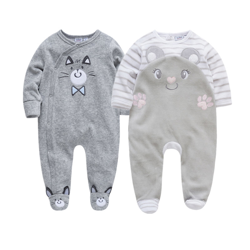 Baby Boys Clothing Kids Solid Gray Long Sleeve Footie 100/% Cotton Romper