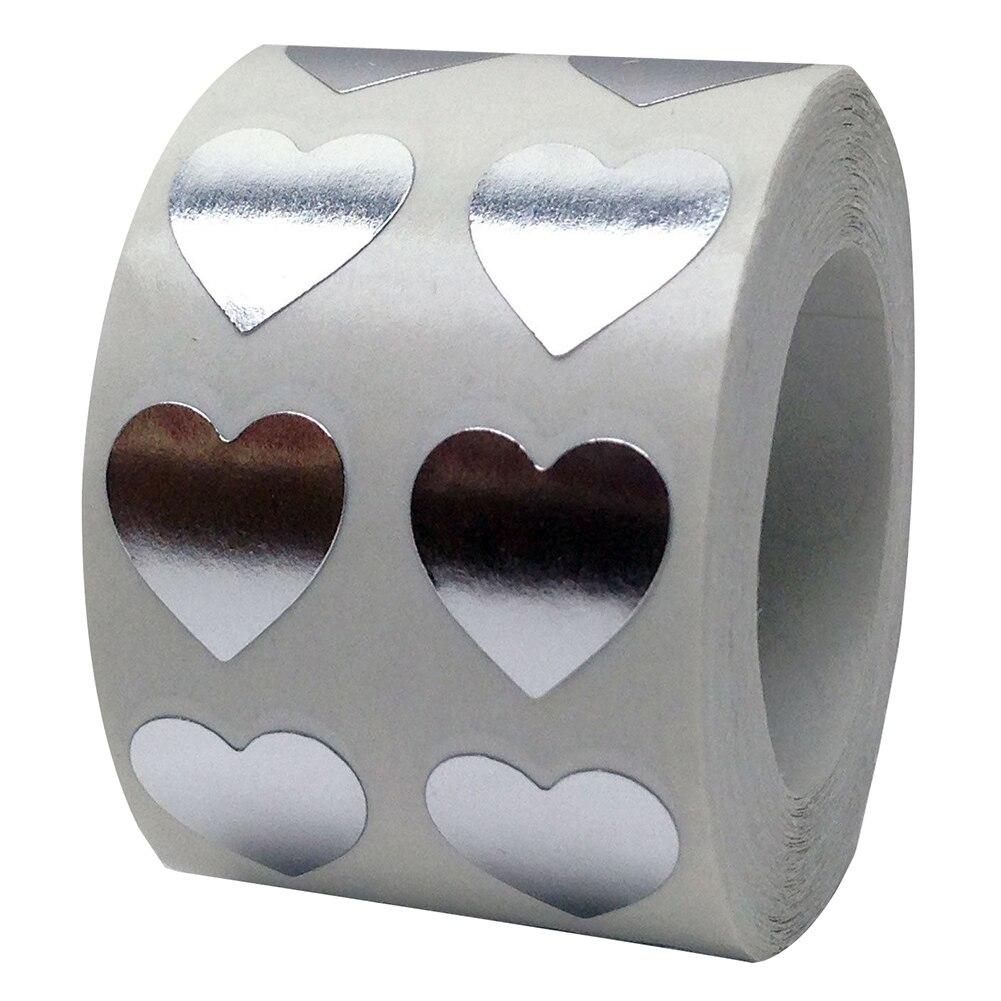 Рулон Любовь Сердце этикетки наклейки свадебный подарок упаковка герметизация Искусство Наклейка упаковка мешок - Цвет: Серебристый