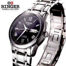 Профессиональный горячей продажи relogio часы люксовый бренд Женева полую конструкцию дата месяц стальной ленты автоматические механические Бингер часы