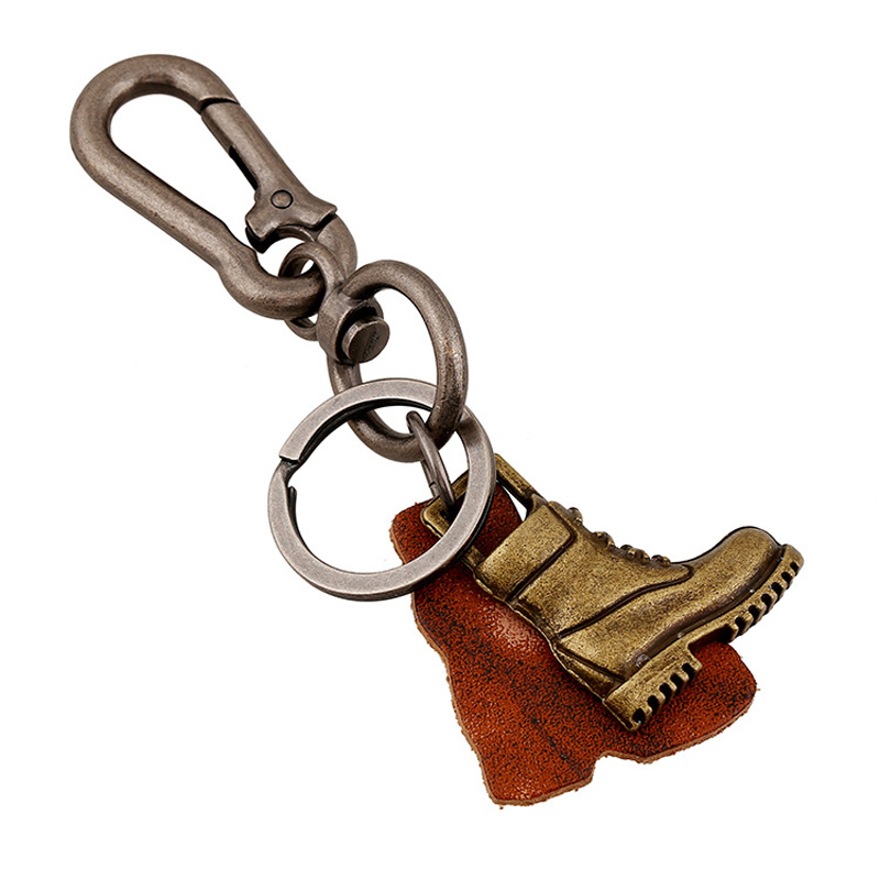 Sporty Boots Handmade Key Chains For Male Leather Female