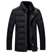 Дропшиппинг Мужская s пуховая хлопковая стеганая куртка пальто Высокое качество Мужская зимняя деловая Повседневная меховой жакет с вортником стойкой парки мужская куртка