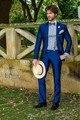 Slim Fit um botão azul noivo smoking padrinhos de casamento Prom ternos noivo ( Jacket + Pants + cinto + Tie ) K 633