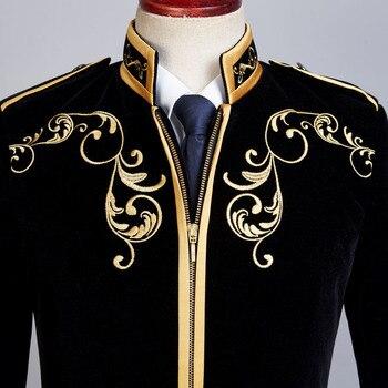 British Style Palace Prince Fashion Black Velvet Gold  3