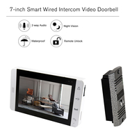 Door Bell 7 inch LCD Screen Monitor Color Video Door Viewer Touch Button Video Intercom Monitor IR Night Vision Camera Door Bell