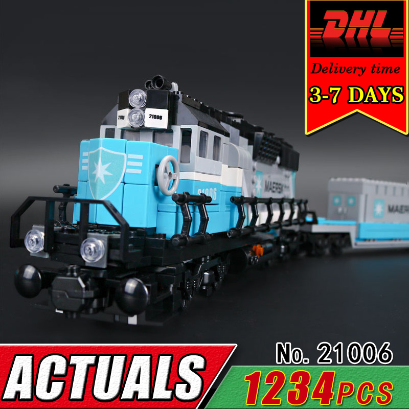 DHL LEPIN 21006 Technic Series The Maersk Train Compatible 10219 Building Blocks Brcik Children Educational Classic Toy Gift Kid lepin 21006 compatible builder the maersk train 10219 building blocks policeman toys for children