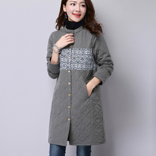 2016 Autumn And Winter Coat Loose Women's National Wind Simple And Comfortable Long-Sleeved Cotton Linen Jacket Female WT001