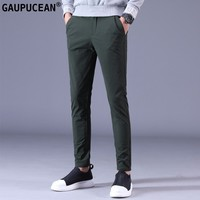 Men Pants Slim 90% Cotton Spring Autumn Winter Solid Grey Black Green Male Young Full Length Long Chino Man Pencil Trousers