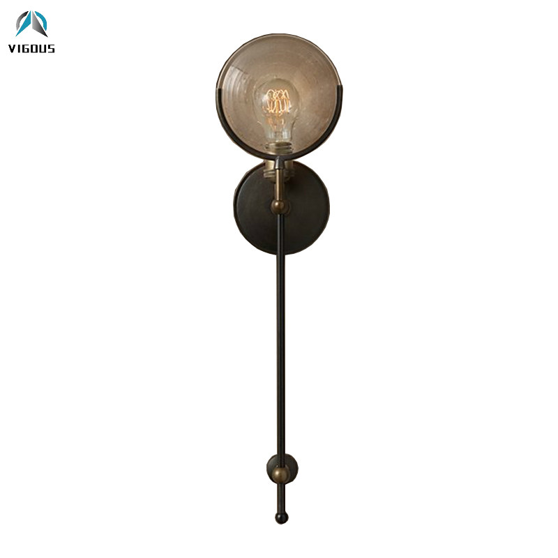 Loft Retro American Lustre Luminaria Led Wall Lamp Glass Sheet E27 Wall Sconces Matte Black Metal Indoor Bracket Lamp Fixtures